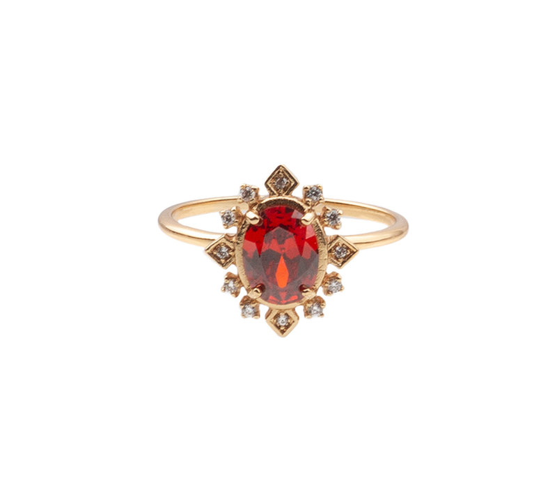 Ring Oval Red Clear 18K gold