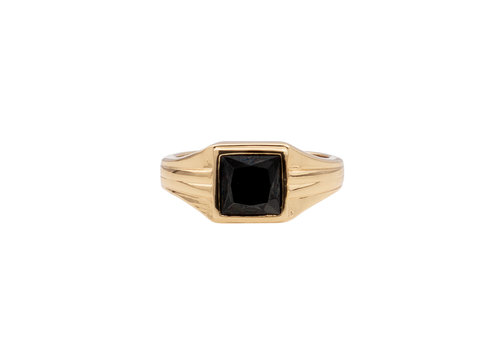 All the Luck in the World Chérie Goldplated Ring Square Black
