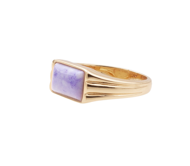 Ring Rectangle Marble Lilac plated