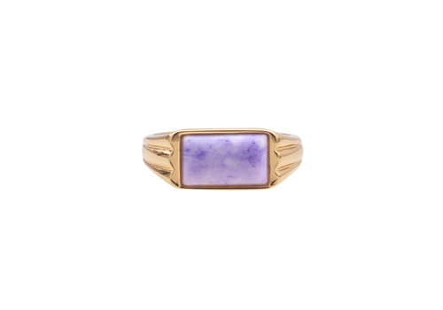 All the Luck in the World Ring Rectangle Marble Lilac 18K gold