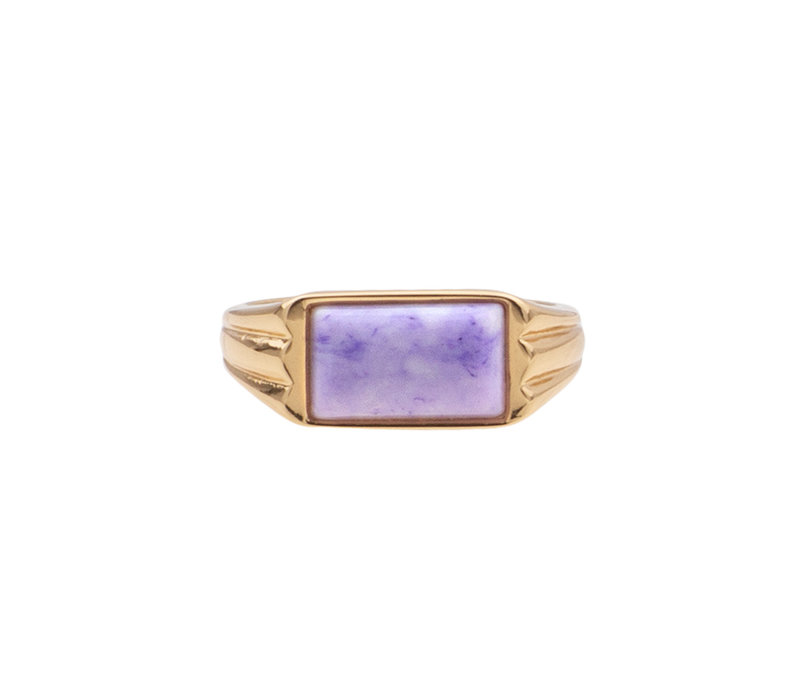 Chérie Goldplated Ring Rectangle Marble Lilac