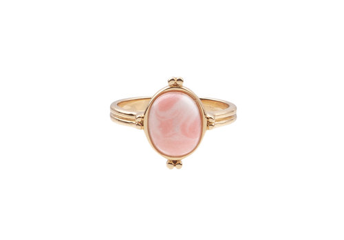 All the Luck in the World Ring Ovaal Marmer Licht Roze 18K gold