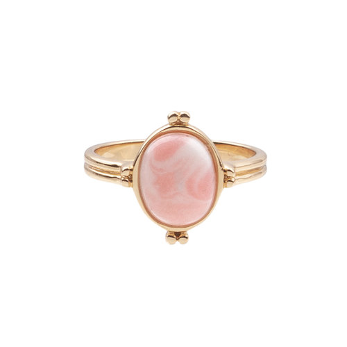 Chérie Goldplated Ring Ovaal Marmer Licht Roze