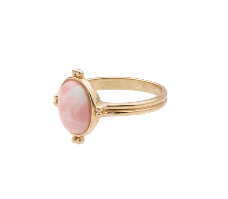 Ring Oval Marble Light Pink 18K gold