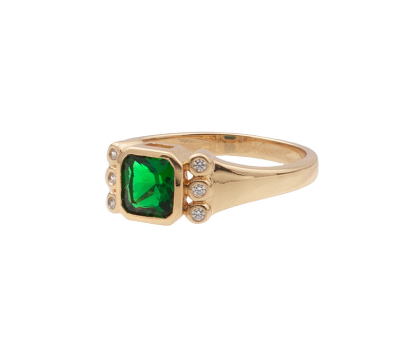 Ring Square Green Clear plated