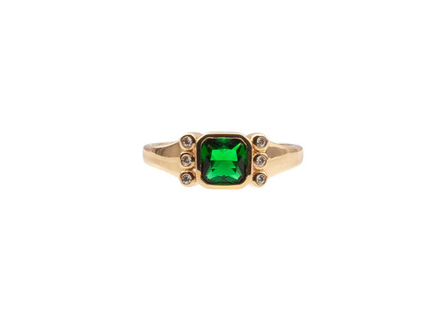 All the Luck in the World Chérie Goldplated Ring Square Green Clear
