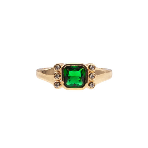 Chérie Goldplated Ring Vierkant Groen Transparant
