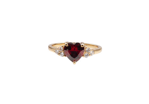 All the Luck in the World Ring Heart Dark Red Clear 18K gold