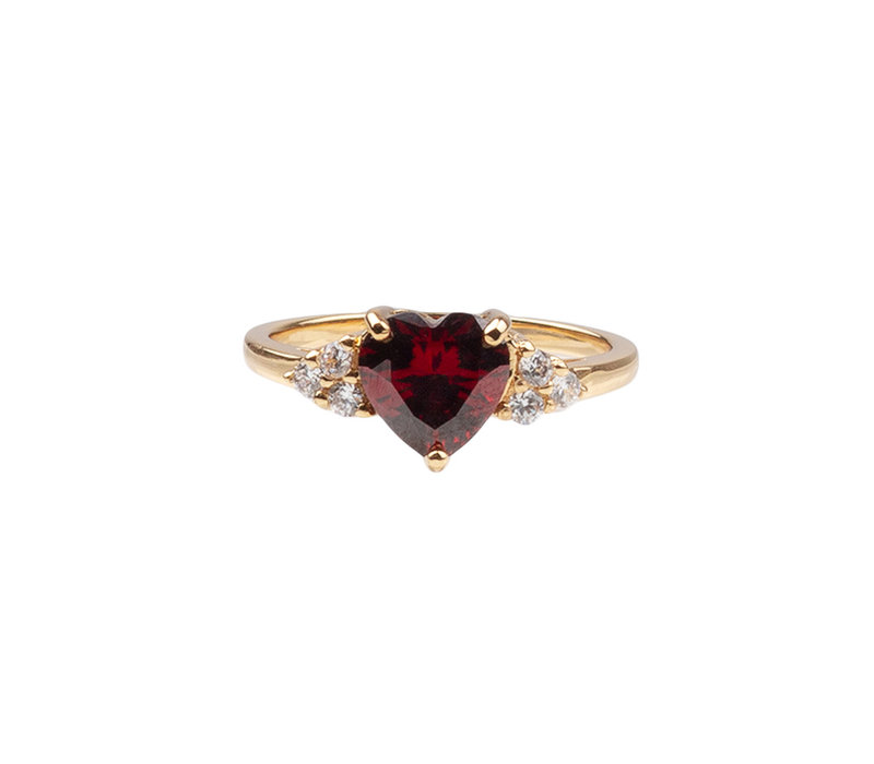 Chérie Goldplated Ring Hart Donker Rood Transparant