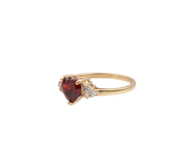 Ring Heart Dark Red Clear 18K gold