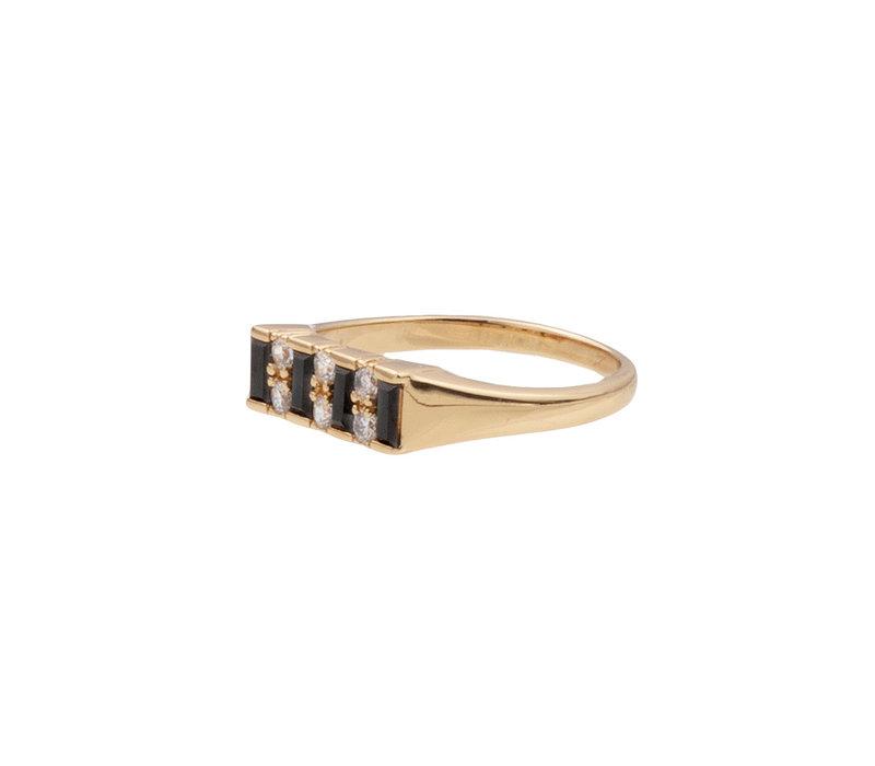 Ring Bar Black Clear 18K gold