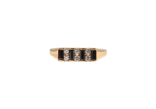 All the Luck in the World Ring Bar Black Clear 18K gold