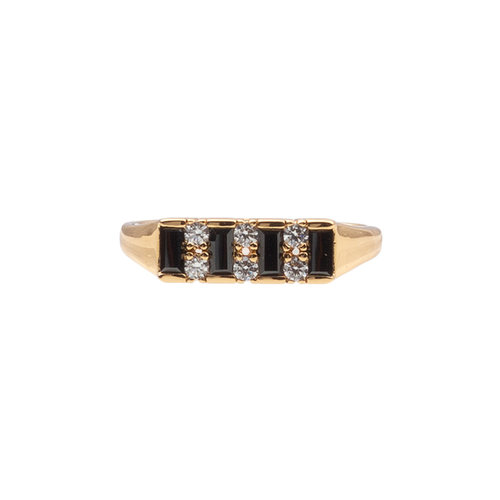 Chérie Goldplated Ring Bar Black Clear