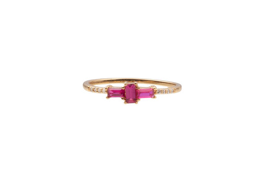 All the Luck in the World Ring Cross Pink Clear 18K gold