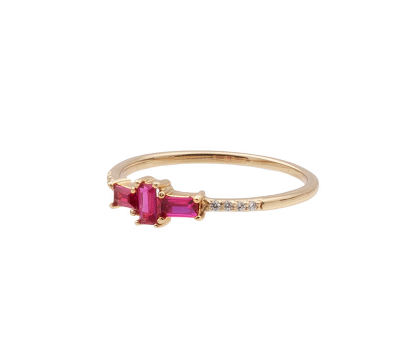 Ring Cross Pink Clear 18K gold