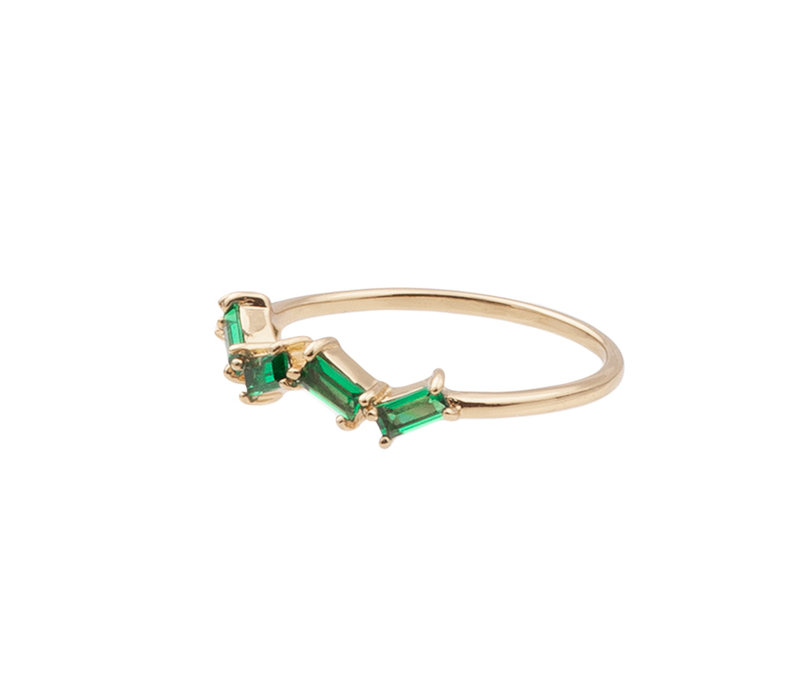 Ring Zigzag Green plated