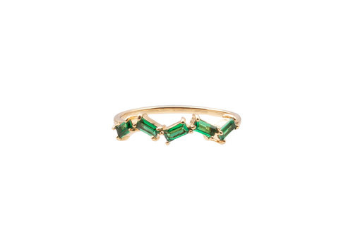 All the Luck in the World Chérie Goldplated Ring Zigzag Green