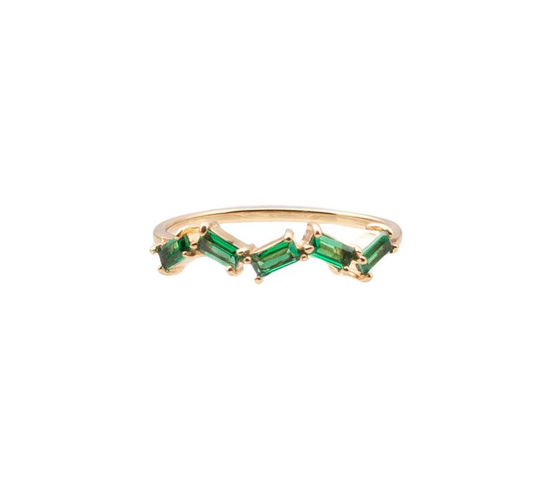 Chérie Goldplated Ring Zigzag Green