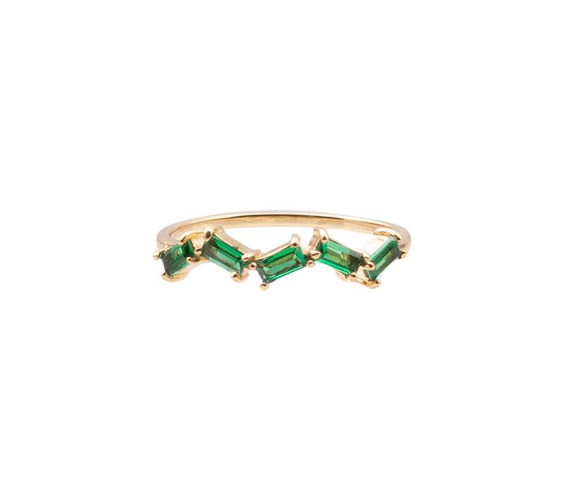 Ring Zigzag Groen 18K gold
