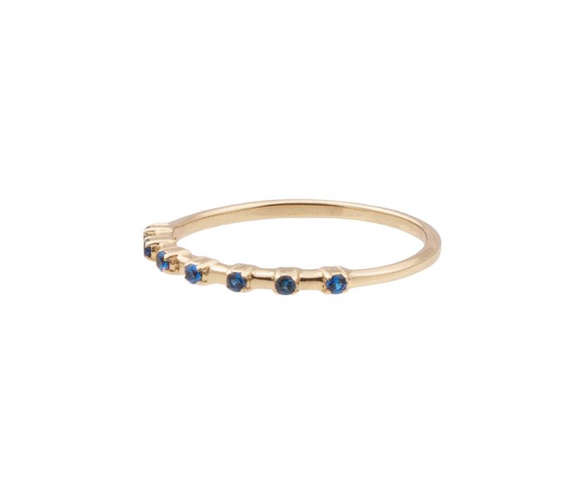 Ring Stippen Blauw verguld