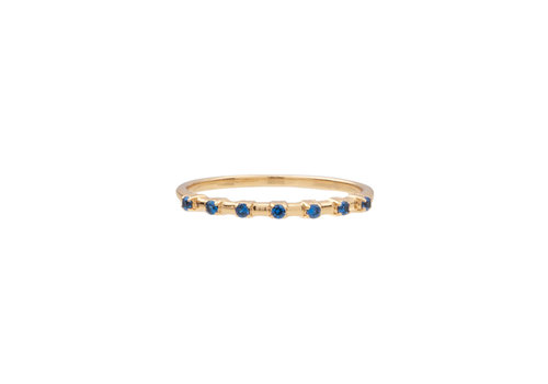All the Luck in the World Ring Dots Blue 18K gold