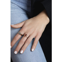 Ring Oval Red Clear plated