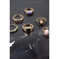 Chérie Goldplated Ring Vierkant Zwart