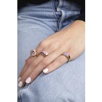 Ring Rechthoek Marmer Lila 18K gold