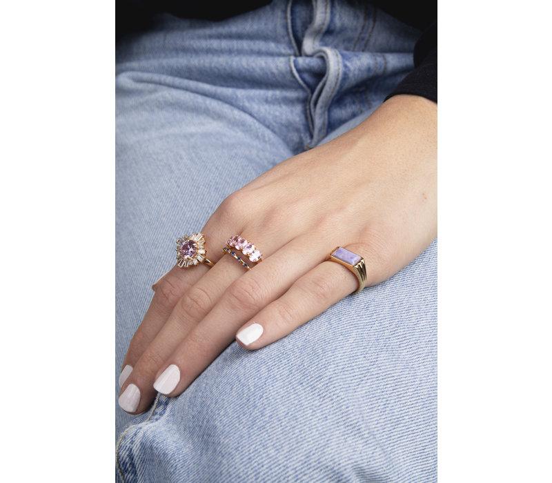 Ring Rechthoek Marmer Lila verguld