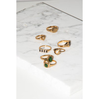 Ring Square Green Clear 18K gold