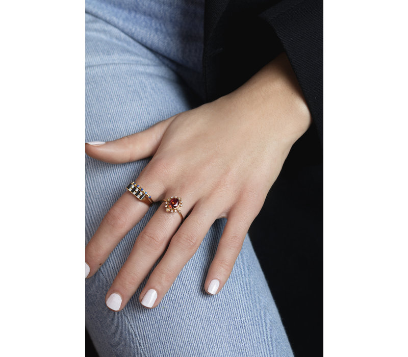 Chérie Goldplated Ring Staaf Zwart Transparant