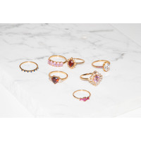 Chérie Goldplated Ring Kruis Roze Transparant