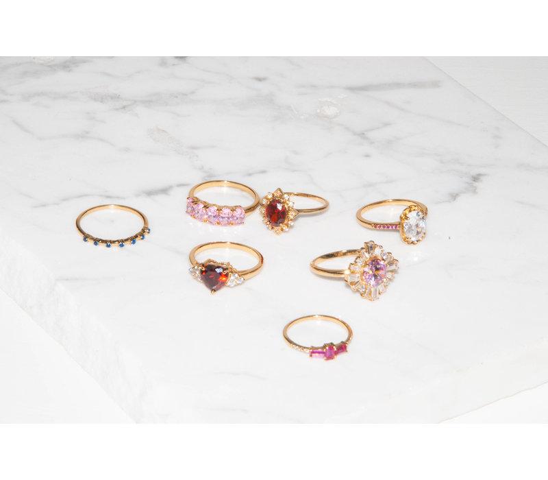 Ring Kruis Roze Transparant 18K gold