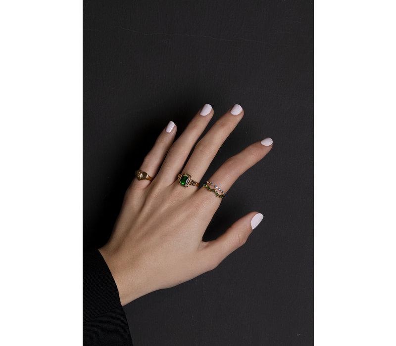 Chérie Goldplated Ring Stippen Blauw