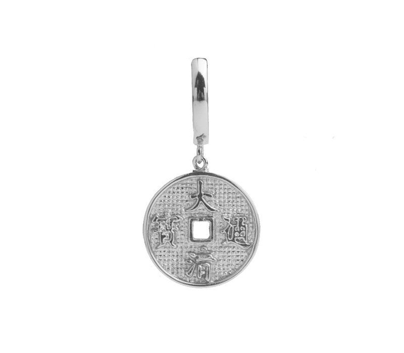 East Silverplated Earring Lucky Coin