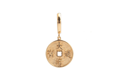 All the Luck in the World East Goldplated Earring Lucky Coin