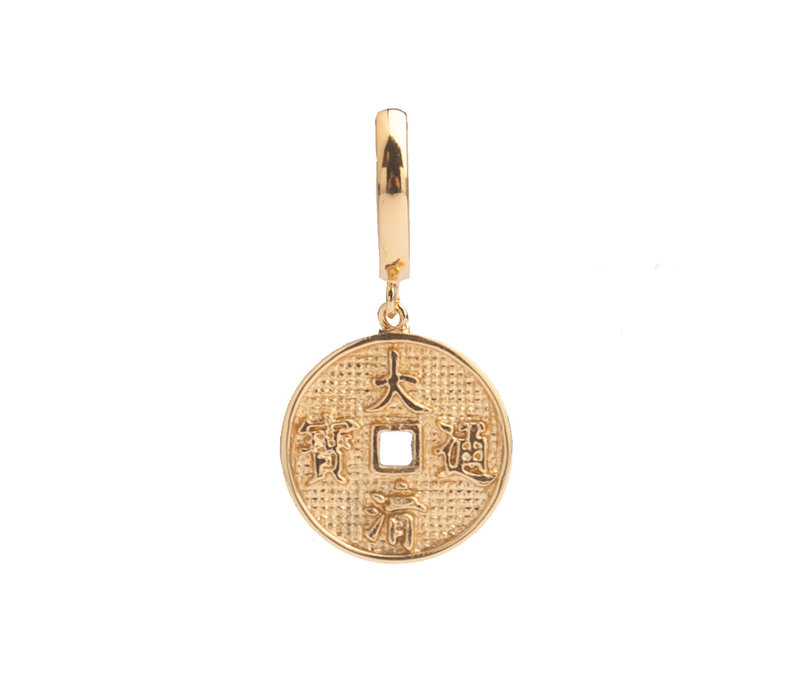 East Goldplated Earring Lucky Coin