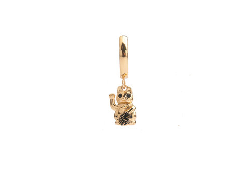 All the Luck in the World Earring Lucky Cat gold