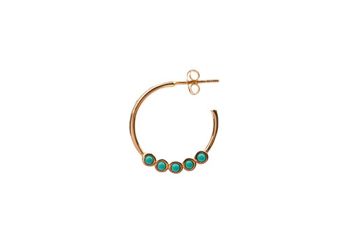 All the Luck in the World Oorbel Creool groot Turquoise 18K goud