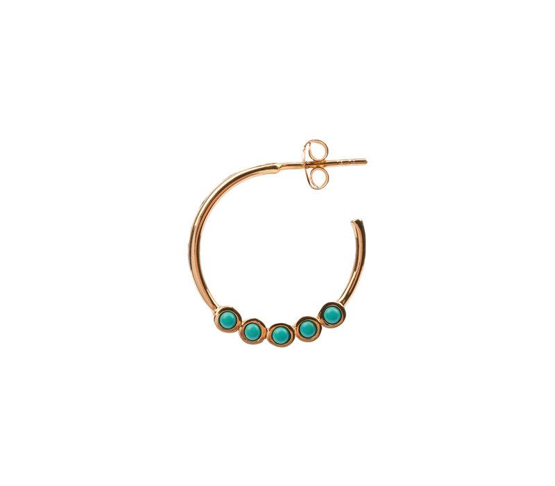 Earring creole big Turquoise 18K gold
