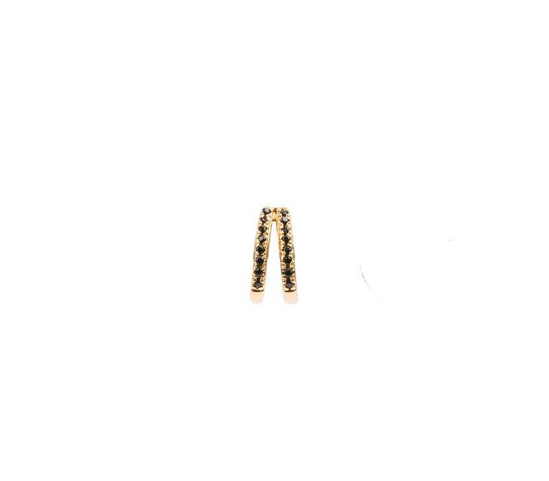 Oorbel 2 Split Black Onyx 18K goud