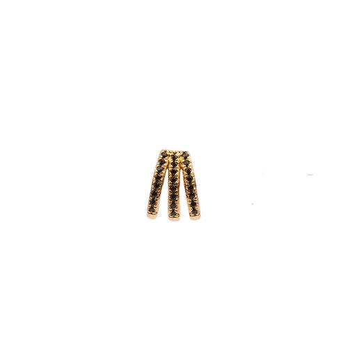 Bliss Goldplated Oorbel 3 Split Black Onyx