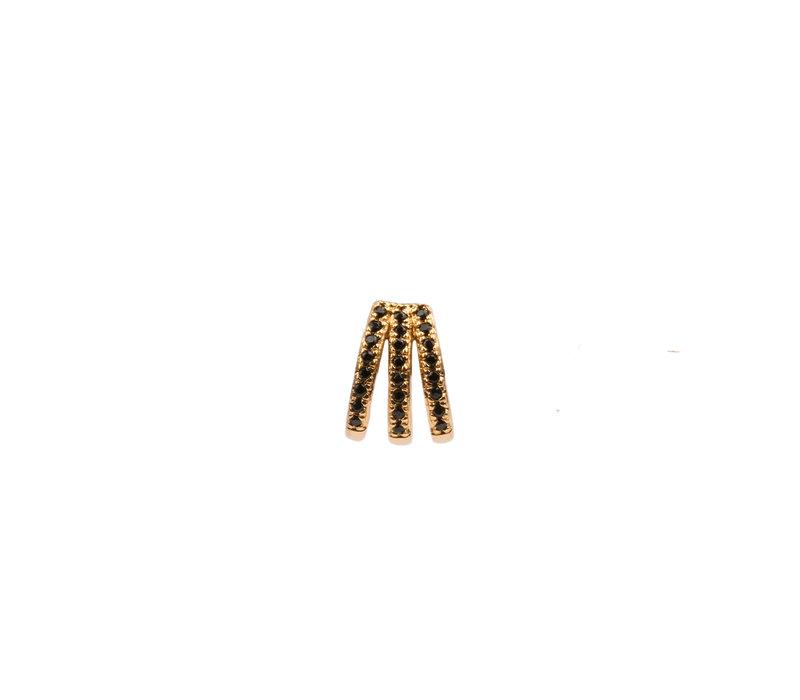 Oorbel 3 Split Black Onyx 18K goud