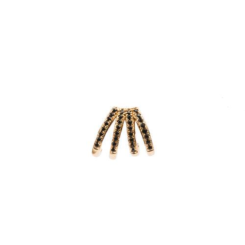 Bliss Goldplated Earring 4 Split Black Onyx