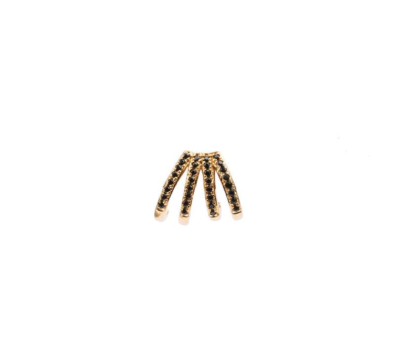 Earring 4 Split Black Onyx plated