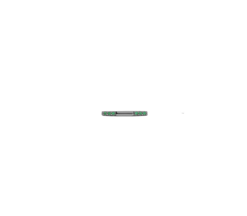 Earring Bar Emerald green silver