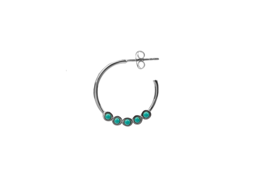 All the Luck in the World Bliss Silverplated Oorbel Creool groot Turquoise