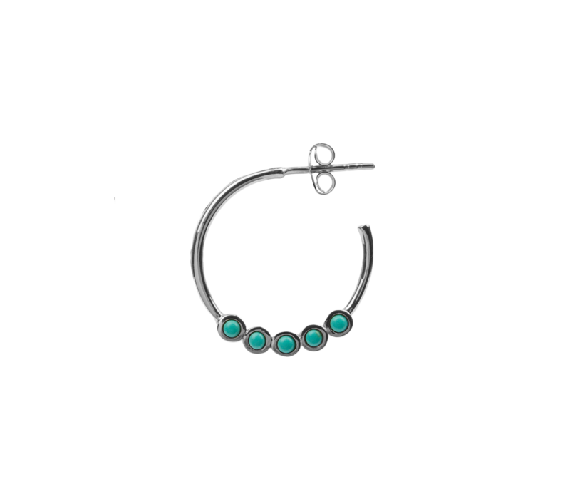 Earring creole big Turquoise silver