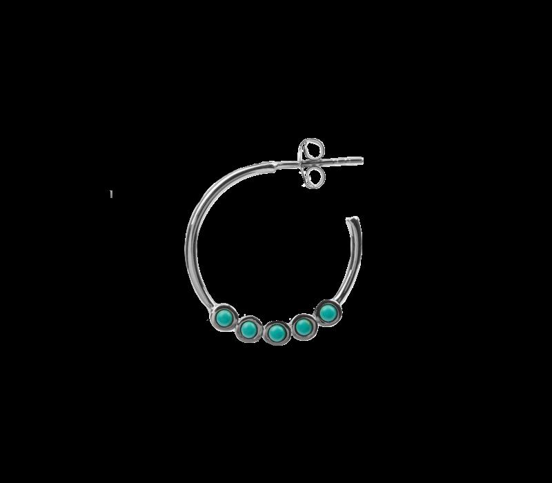 Oorbel Creool groot Turquoise zilver