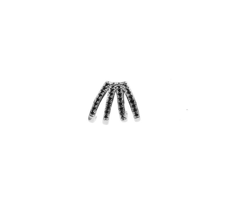 Bliss Silverplated Oorbel 4 Split Black Onyx
